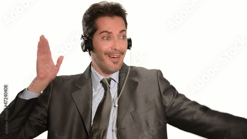 businessman escape stress listening to music