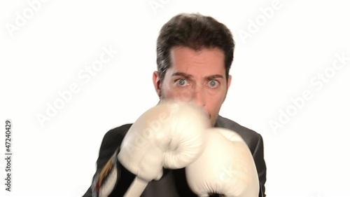businessman in boxing concept