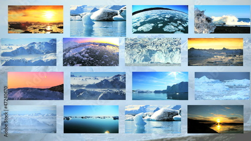 Montage Images Melting Arctic Glacial Ice