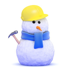 Snowman builder with hammer
