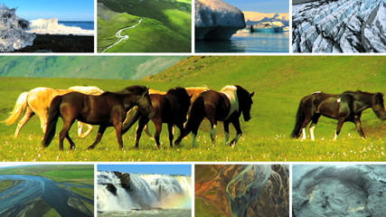 Montage Images Natural Volcanic Activity, Iceland