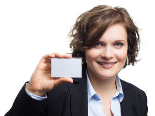 Business Woman Holding White Card