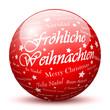 Kugel, Glaskugel, Fröhliche Weihnachten, Rot, Glas, Gruß, grüßen