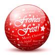 Kugel, Glaskugel, Frohes Fest, Weihnachten, Sternchen, Rot, 3D