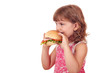 little girl eats big sandwich