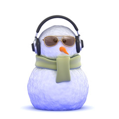 Snowman listens to his new headphones