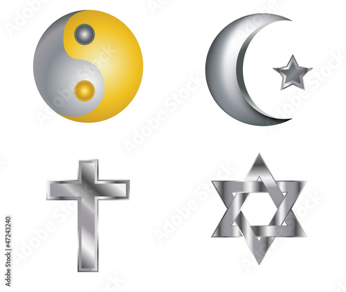 Four silver glossy icons for different religions vector