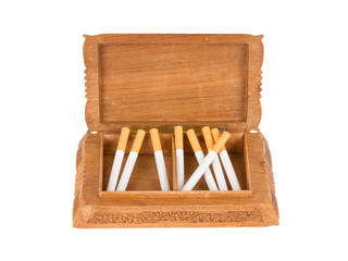 Cigarettes in handcarved wooden box
