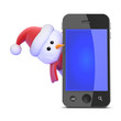 Snowman peeps out from behind smartphone
