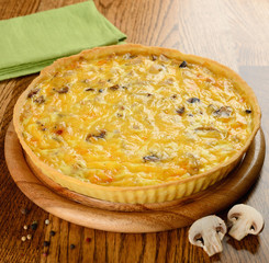French tart with mushrooms and cheese
