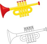 Trumpet toy. Coloring book. Vector