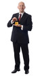 businessman dropps pound in golden pig