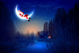 Fototapety photo of santa claus sitting on the moon
