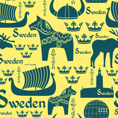 Seamless pattern with symbols of Sweden