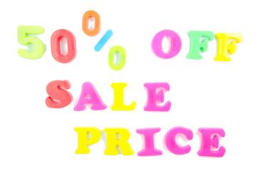 50% off sale price written in fridge magnets