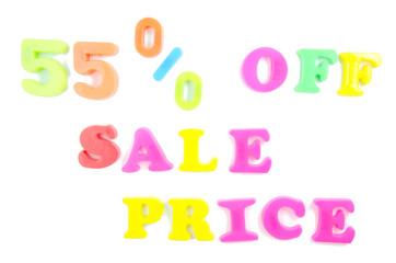 55% off sale price written in fridge magnets