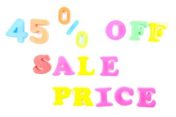 45% off sale price written in fridge magnets