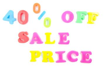 40% off sale price written in fridge magnets