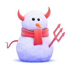 Snowman is dressed as a naughty devil