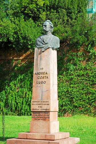 Italy, Andrea Costa statue in the city of Lugo.