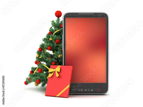 Christmas tree, gift and cell phone