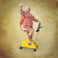 Anatomía Hombre con Bicicleta estatica