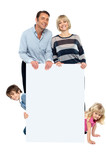 Lively family of four all around blank whiteboard