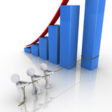 Business team putting in place column of rising graph