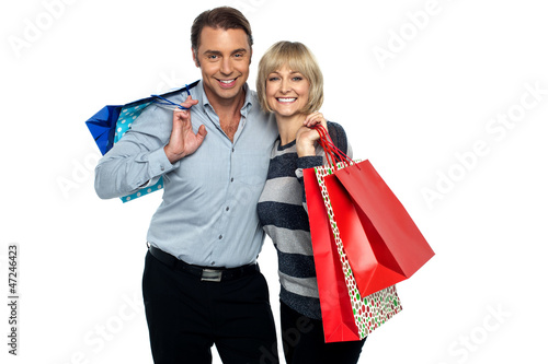 Husband and wife enjoying shopping