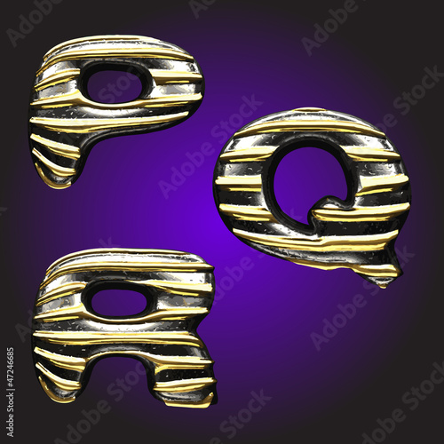 silver letters with gold