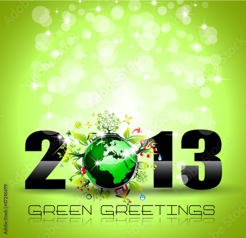 2013 Ecology Green Themed Greetings for New Year Posters