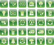 set of green ecology icons