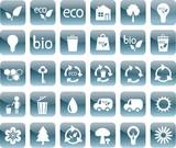 set of blue ecology icons