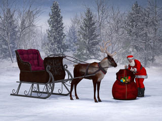 Santa preparing his sleigh ride.