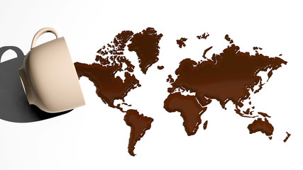 World map made of coffee stains