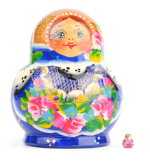 Russian nesting dolls  on a white background