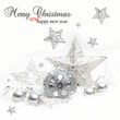 Silver Christmas bauble and stars  on white background