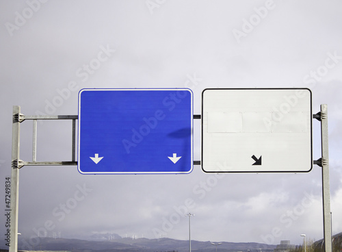 Highway signs with space for text