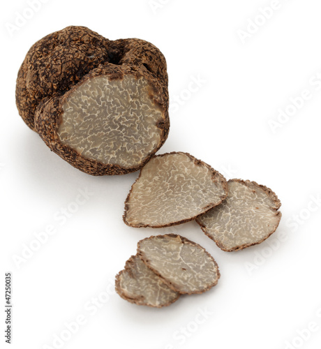 black truffle on a white background