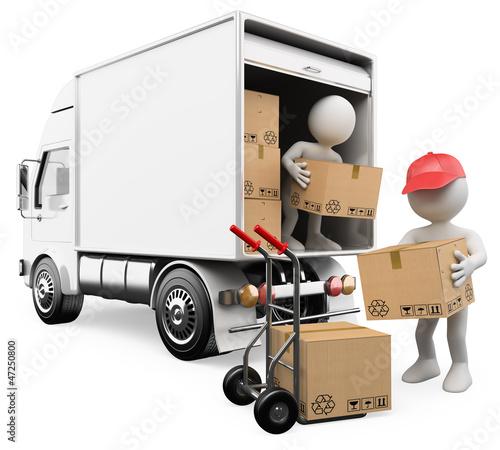 3D weiße Leute. Arbeiter, die Kisten von einem Lastwagen entladen