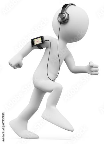 3D white people. Man jogging