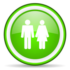 couple green glossy icon on white background