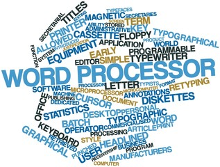 Word cloud for Word processor