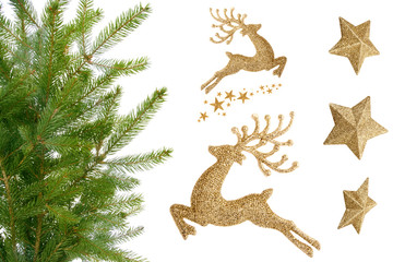 Christmas twig, gold reindeer and stars