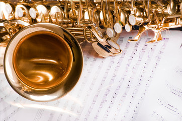 Saxophone on the printed music
