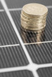 Macro PV Solar Panel and money.