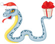 Cartoon serpent gives a gift