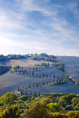 Tuscany, countryside by val d orcia, la foce