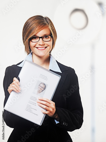 young lady with documents for application