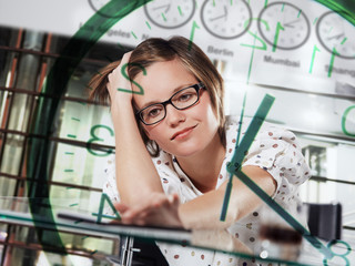 young lady working around the clock